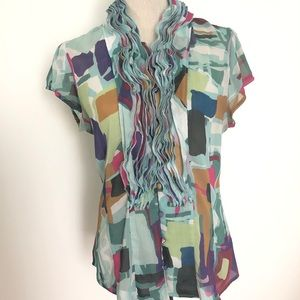 ANTHROPOLOGIE Lapis Abstract Sheer Ruffle Blouse
